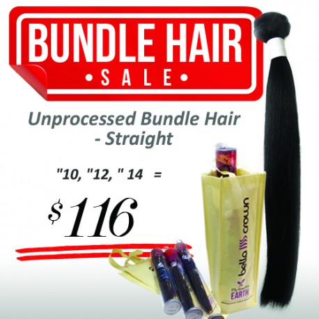 "UNPROCESSED REMI BUNDLE HAIR - STRAIGHT (""10, ""12, ""14)"